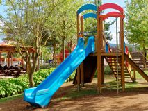 Slide children s playground. Rome, Italy - Sept 2017: slide at children`s playground at rainbow magicland funfair Royalty Free Stock Photography