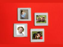 Slide Film Frame Portraits. Several slide film frames of portraits of girls on an red background Stock Photo