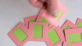 Slide film 35mm in pink paper frame. Chromakey