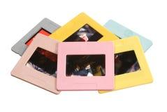 Slide film mount frames. Old plastic slide film mount frames on white Royalty Free Stock Photo