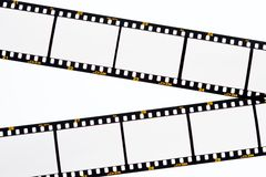 Slide film strips with empty frames Stock Photo