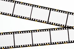 Slide film strips with empty frames stock image