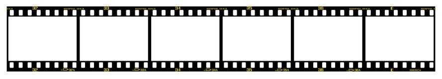 Slide filmstrip. 35mm slide/positive frames in filmstrip, with details and accurate dimension Stock Photography