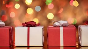 Slide in front of presents - gift boxes for christmas stock footage