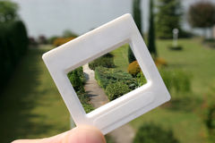 Slide, garden. Presentation slide, invention photo royalty free stock photo