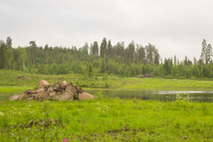 Slide granite stones on shore of lake, Hamina, Finland, Suomi. Summer outdoor recreation, Scandinavian vacation. Slide granite stones on shore of small lake Royalty Free Stock Photos