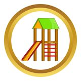 Slide house icon. In golden circle, cartoon style isolated on white background Royalty Free Illustration
