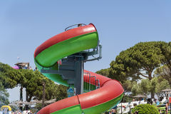 Slide for kids in water park. BARCELONA,SPAIN-25.07.06 : Colorful slide in the waterpark Marineland  in Spain Stock Image