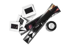 Slide, Loupe and film strips Stock Photos
