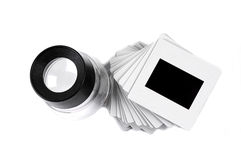 Slide and loupe. On white background royalty free stock image