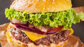 Slide motion of fresh hamburger stock footage