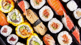 Slide motion of sushi food stock video