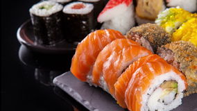 Slide motion of sushi food stock video footage