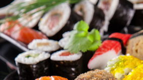 Slide motion of sushi food stock footage