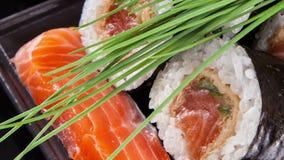Slide motion of sushi food stock footage