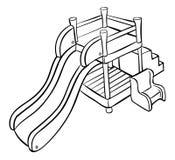 Slide outline playground. Cartoon illustration of a slide outline playground Stock Photo