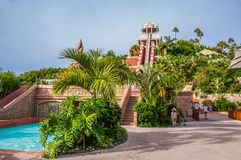 Slide with palms and trees of auqa park in Tenerife, Spain Royalty Free Stock Photo