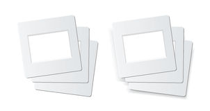 Slide photo frames. Slide frames for 35mm format, 1 stack is isolated on white, 1 stack is with shadow effect. vector is available Stock Photos