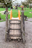 Slide in playground. Rear view of children's slide in outdoor playground or park Stock Photo