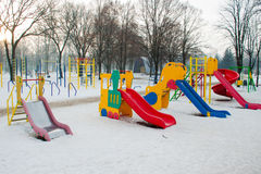 Slide at the playground in the winter Royalty Free Stock Photography