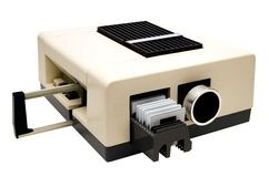 Slide projector. Isolated over white royalty free stock photo