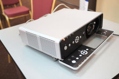 Slide projector. Under the white background royalty free stock photography