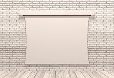 Slide projector screen on white brick wall. Slide projector screen isolated on white brick wall Royalty Free Stock Photos