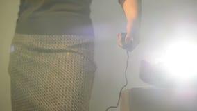 Slide Projector Woman stock footage