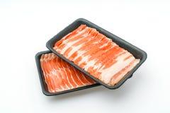 Slide of  raw pork  on white background . Slide of  raw pork  on white background Royalty Free Stock Images