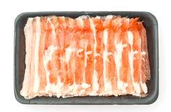 Slide of  raw pork  on white background . Slide of  raw pork  on white background Royalty Free Stock Photo