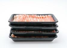 Slide of  raw pork  on white background . Slide of  raw pork  on white background Royalty Free Stock Image