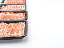 Slide of  raw pork  on white background . Slide of  raw pork  on white background Royalty Free Stock Photography