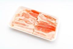 Slide of  raw pork  on white background . Slide of  raw pork  on white background Royalty Free Stock Photos