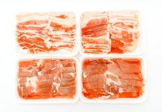 Slide of  raw pork  on white background . Slide of  raw pork  on white background Stock Images