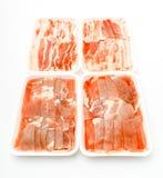 Slide of  raw pork  on white background . Slide of  raw pork  on white background Stock Photography