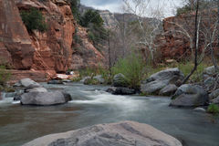 Slide Rock State Park. The river that calmly runs through Slide Rock State Park in Arizona stock photography