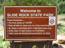 Slide Rock State Park Sign. Sedona Slide Rock State Park Sign Stock Photography