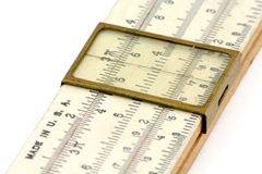 A slide rule. With white background, for mathematical calculations Royalty Free Stock Images