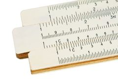 Slide rule. Old slide-rule for computing. Close-up. Isolated. With path Stock Photo