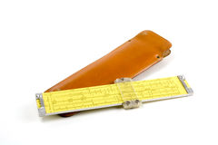 Slide rule and case. Old slide rule and leather case royalty free stock images
