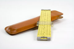 Slide rule and case Stock Image
