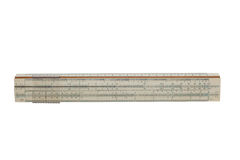 Slide rule by 25 centimeters on a isolated background. Slide rule by 25 centimeters on a white, isolated background stock photo