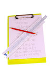 Slide rule clipboard and pencil Royalty Free Stock Images