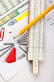 Slide rule and  diagram Stock Image