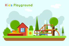 Slide and sandpit in the playground. Slide and sandpit playground. Outdoor and sand, toy childhood, vector illustration Royalty Free Stock Photography