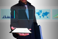 Slide show tablet in hand Royalty Free Stock Photos