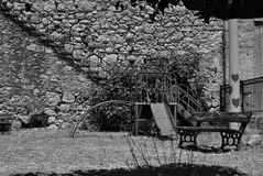 Slide of Smiles. Playground outside the Izzeddin Fortress near the village of Kalami, Souda Bay Crete, Greece Royalty Free Stock Photography