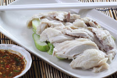 Slide steamed chicken on the plate Royalty Free Stock Images