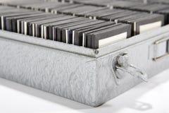 Slide storage. Dias will be kept in an aluminium box Royalty Free Stock Image