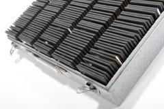 Slide storage. Dias will be kept in an aluminium box Royalty Free Stock Photo